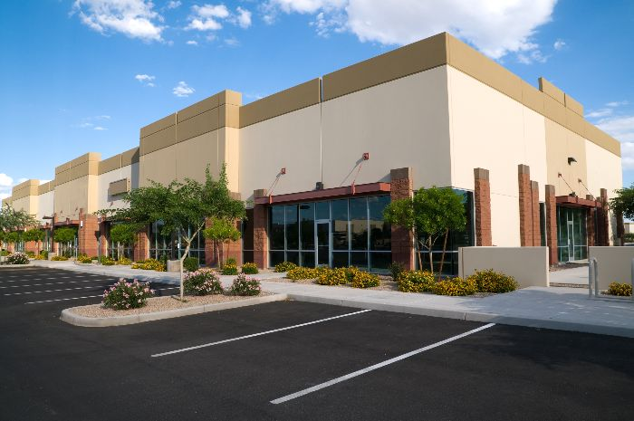 commercial building exterior landscaping and parking lot
